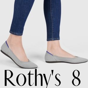 7.5 [8] ROTHY'S The Point Flax Birdseye Flat Shoes